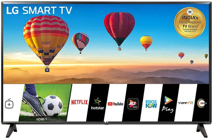 An LG HD Ready Smart LED TV in ceramic black.