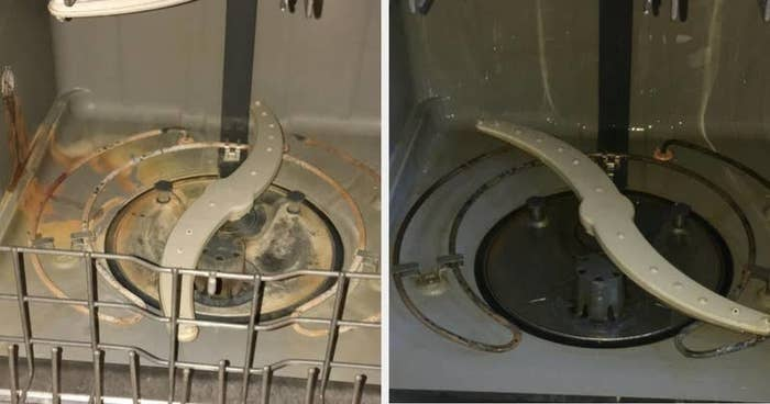 On the left, the inside of a dishwasher gunked up, and on the right, the same dishwasher, but with the gunk pretty much all gone