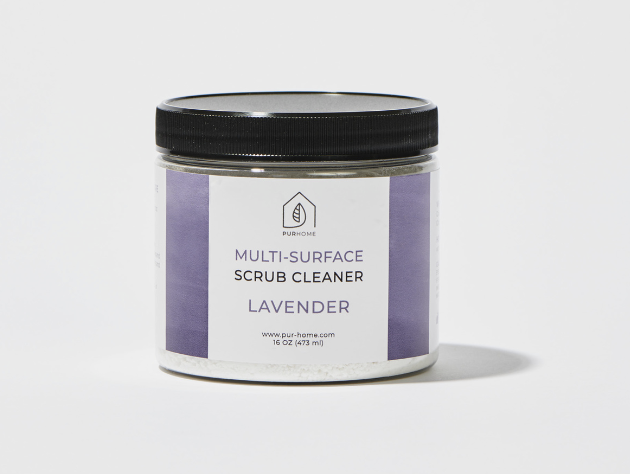 A jar of lavender scented multisurface scrub cleaner