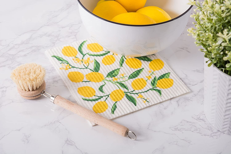 A lemon-printed Swedish dish cloth