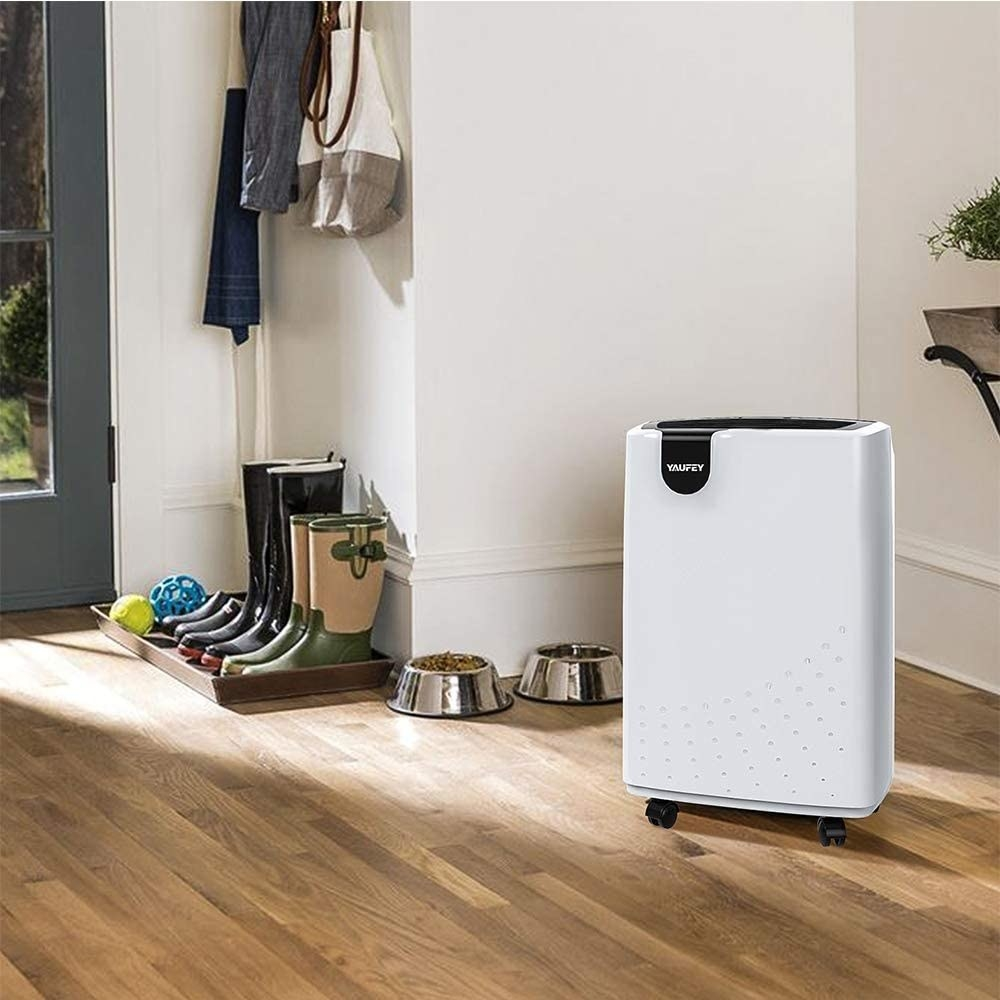 A white dehumidifier with black accents and four caster wheels