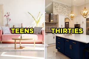 "On the left, a bright, vibrant living room with a velvet couch and plants with ""teens"" written on top of it, and on the right, a modern kitchen with marble counters and unique light fixtures with ""thirties"" written on top of it"