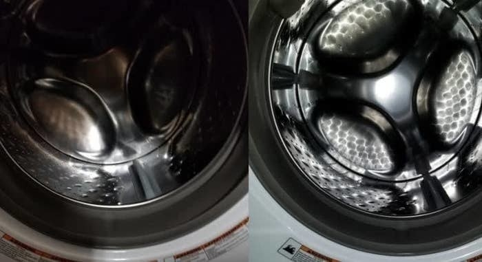 On the left, the insider of a washing machine dark and rusted, and on the right, the same washing machine looking clean and shiny