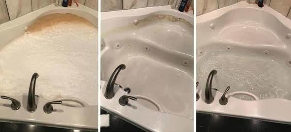 A before, during, and after photo showing a tub with dirt stains coming up while using the cleaner, and then being free of dirt stains after use