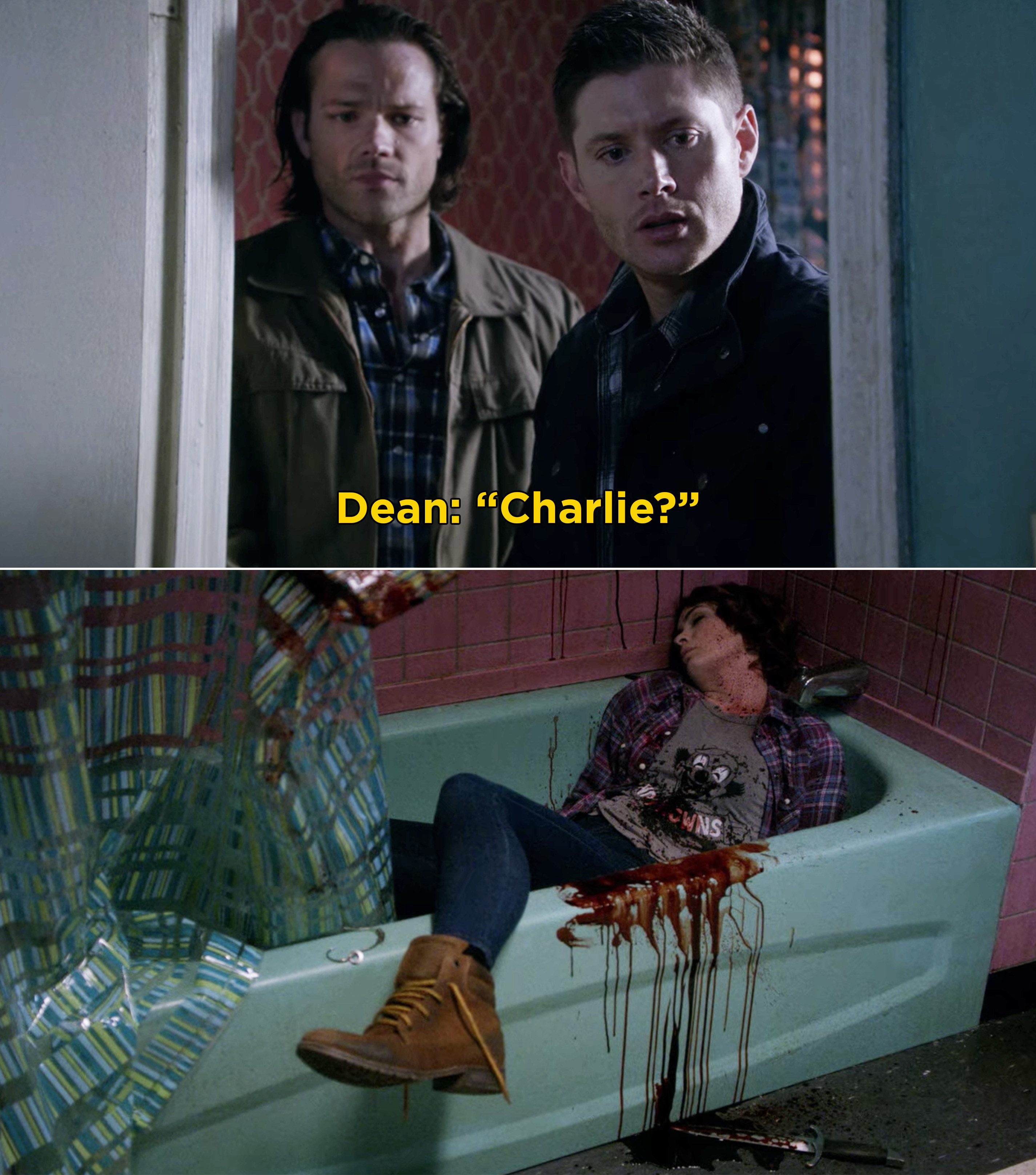 Sam and Dean finding Charlie dead in the bathtub