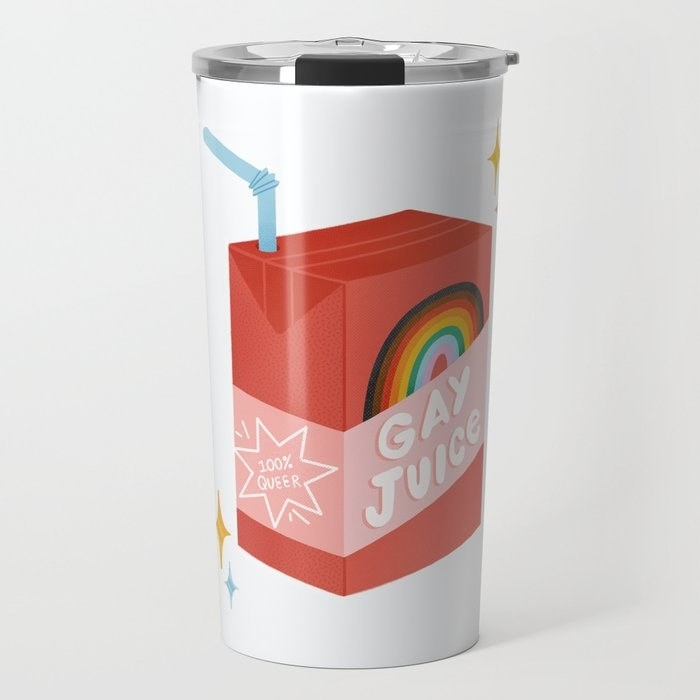 """The stainless steel mug that says """"gay juice"""" with a rainbow"""