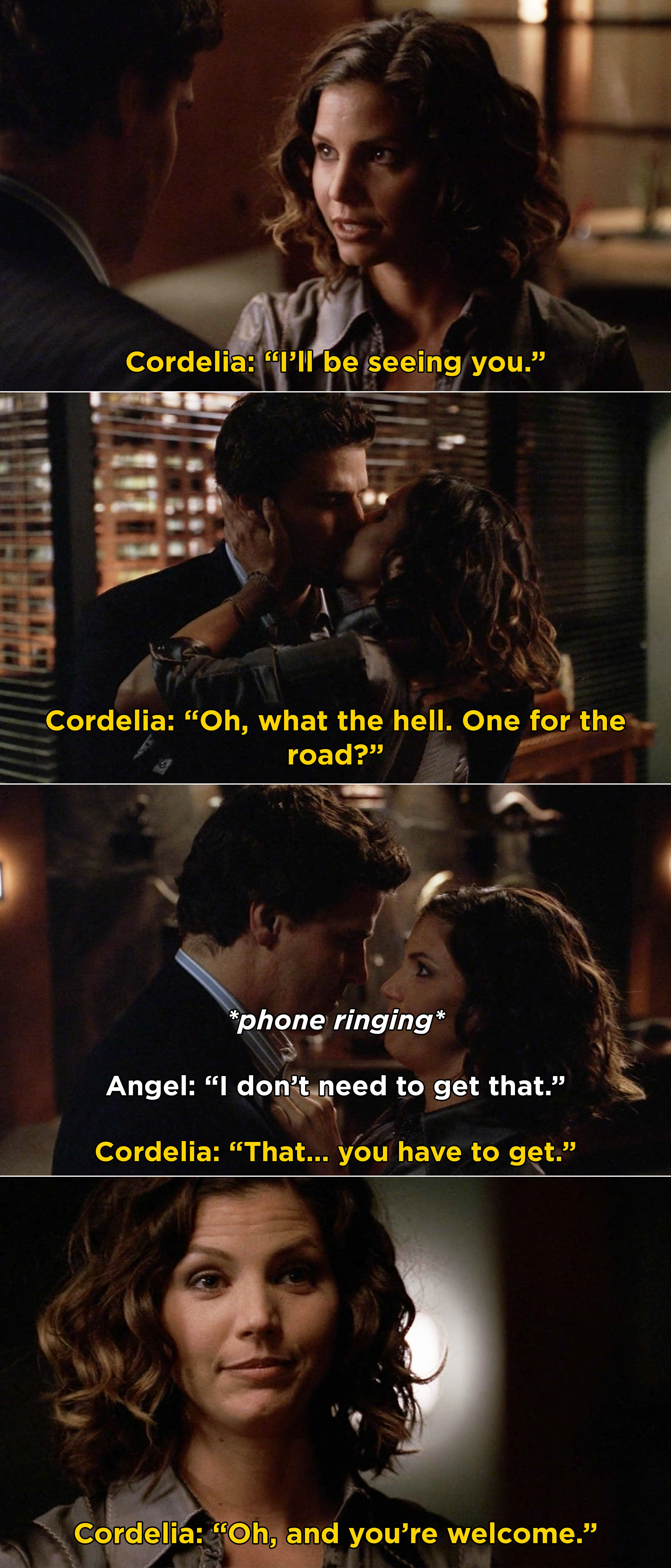 Cordelia and Angel sharing a final kiss before Cordelia has him answer the phone