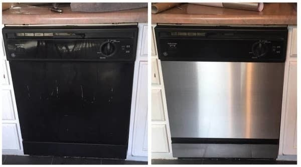 on the left, an old-looking dishwasher, and on the right, the same dishwasher with contact paper that looks like a stainless steel brand new appliance