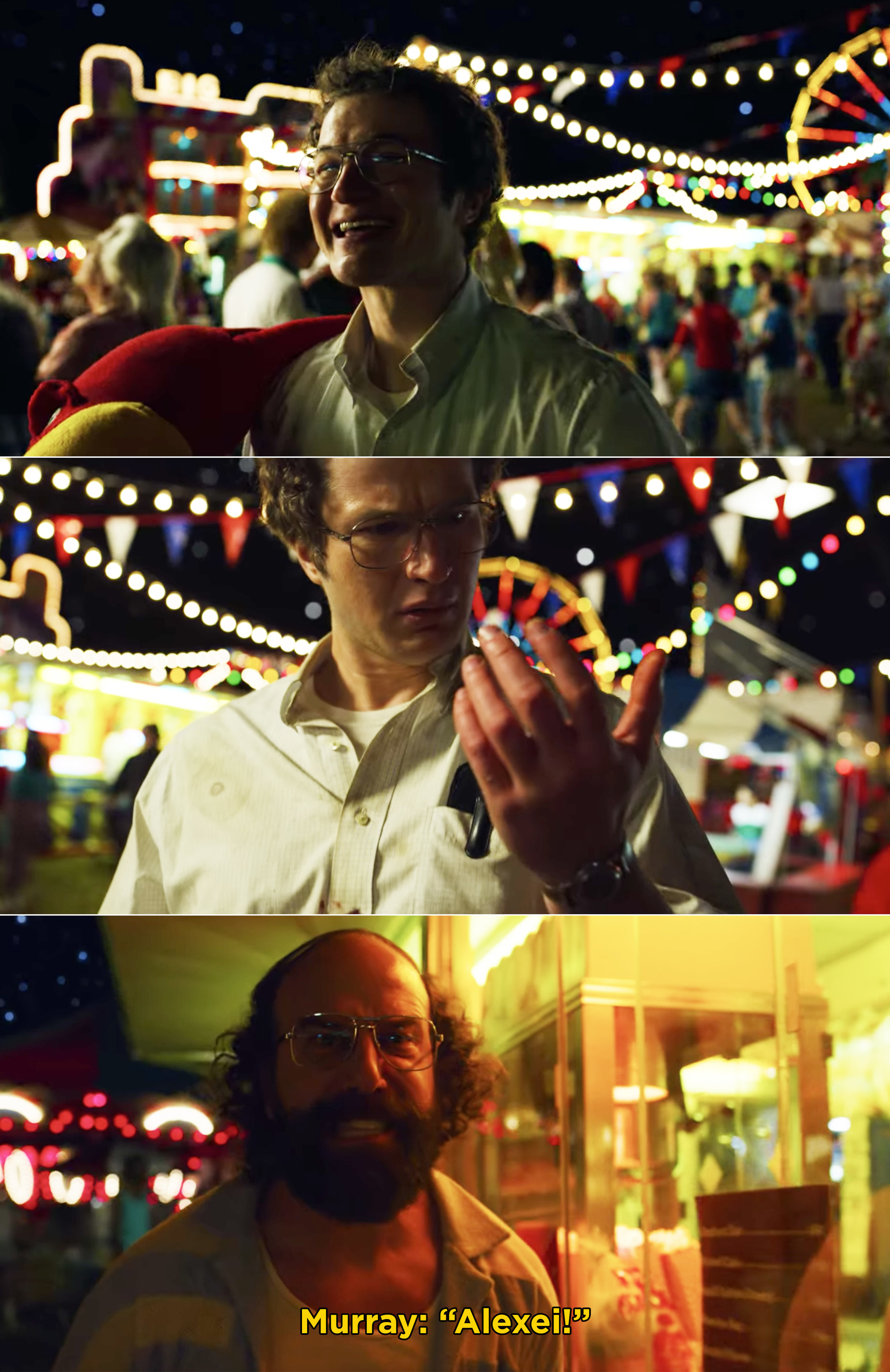Alexei getting shot at the carnival in front of Murray