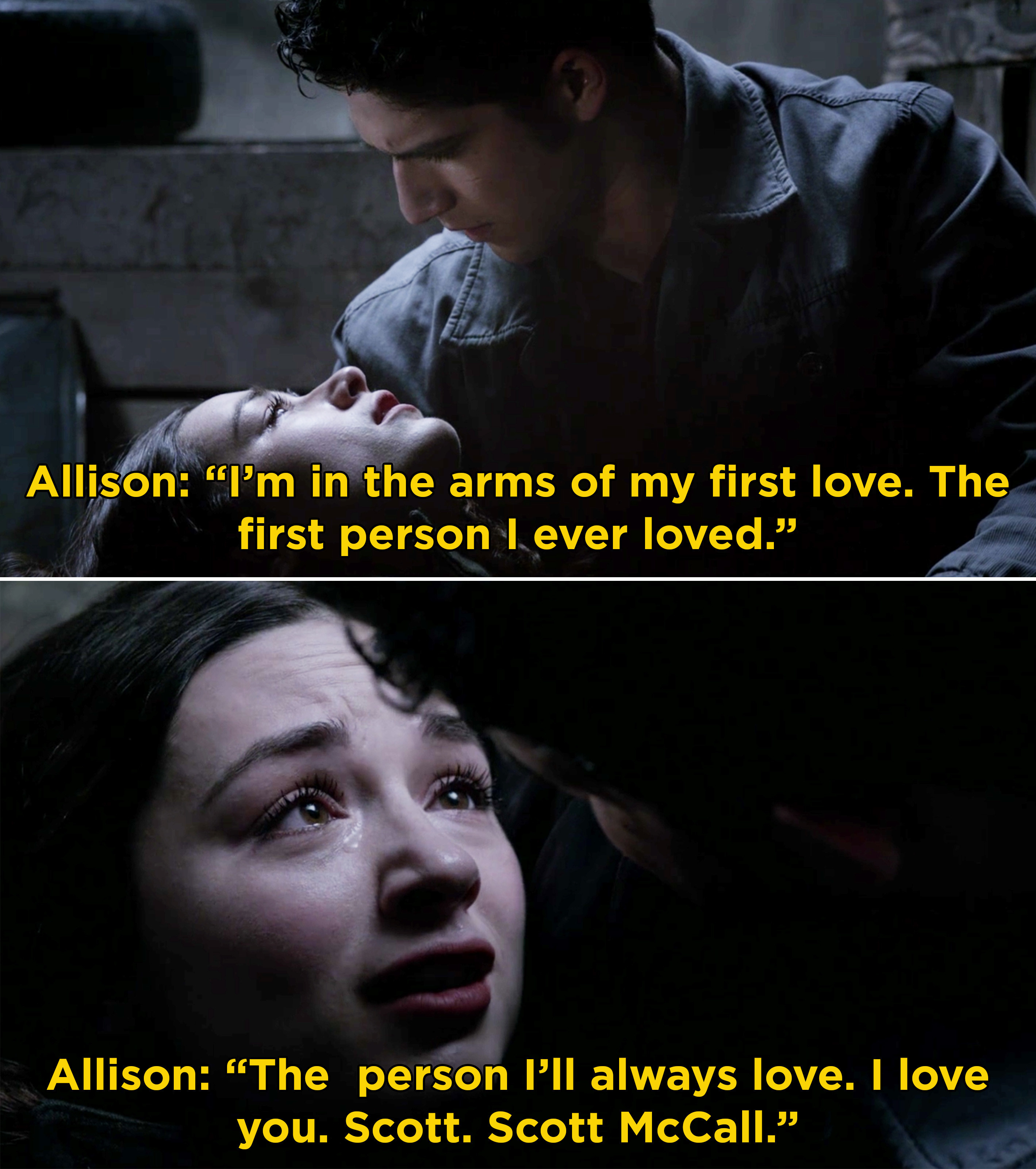 Allison dying in Scott's arms and telling him that she will always love him