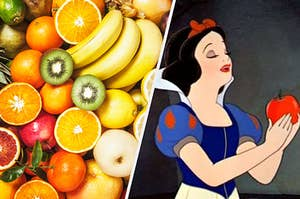 On the left, a bunch of fruits including oranges, kiwi, bananas, and apples, and on the right Snow White stands with an apple in her hands, ready to take a bite