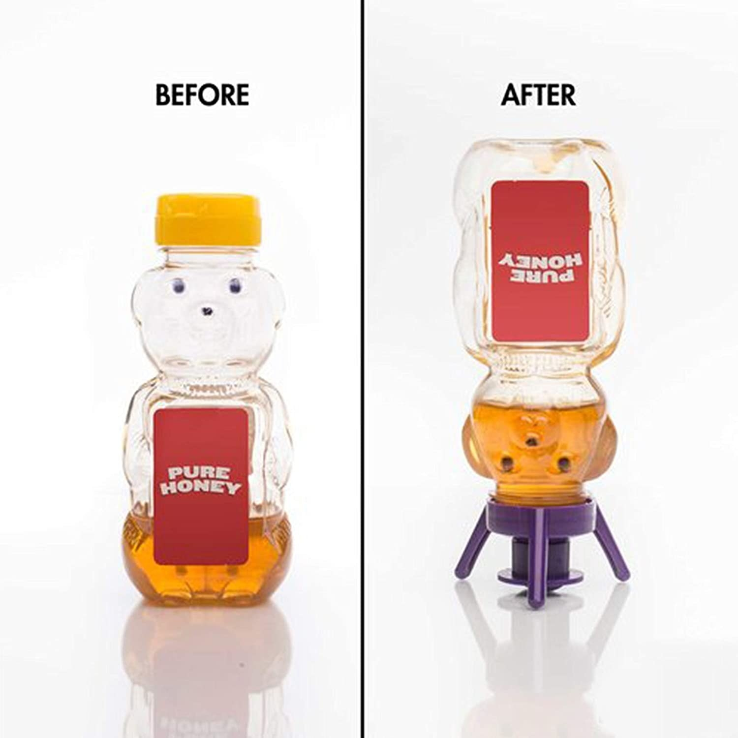 on the left, honey bottle with a regular cap and on the right, the same honey with the purple Flip It! cap