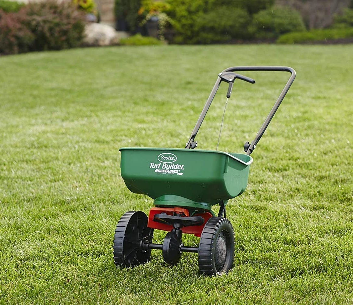 The turf spreader that looks like a small cart