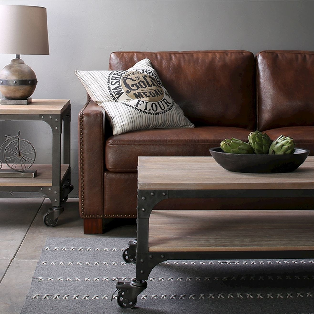 two-shelved coffee table with black wheels