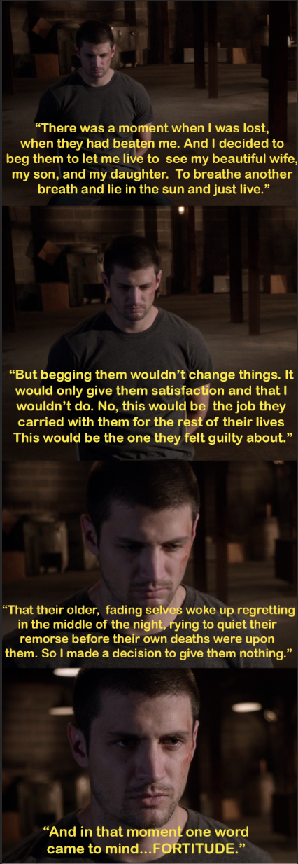 Nathan saying he refuses to cave to his kidnappers because he has fortitude