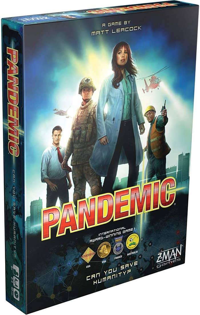 Pandemic board game box with characters featured prominently