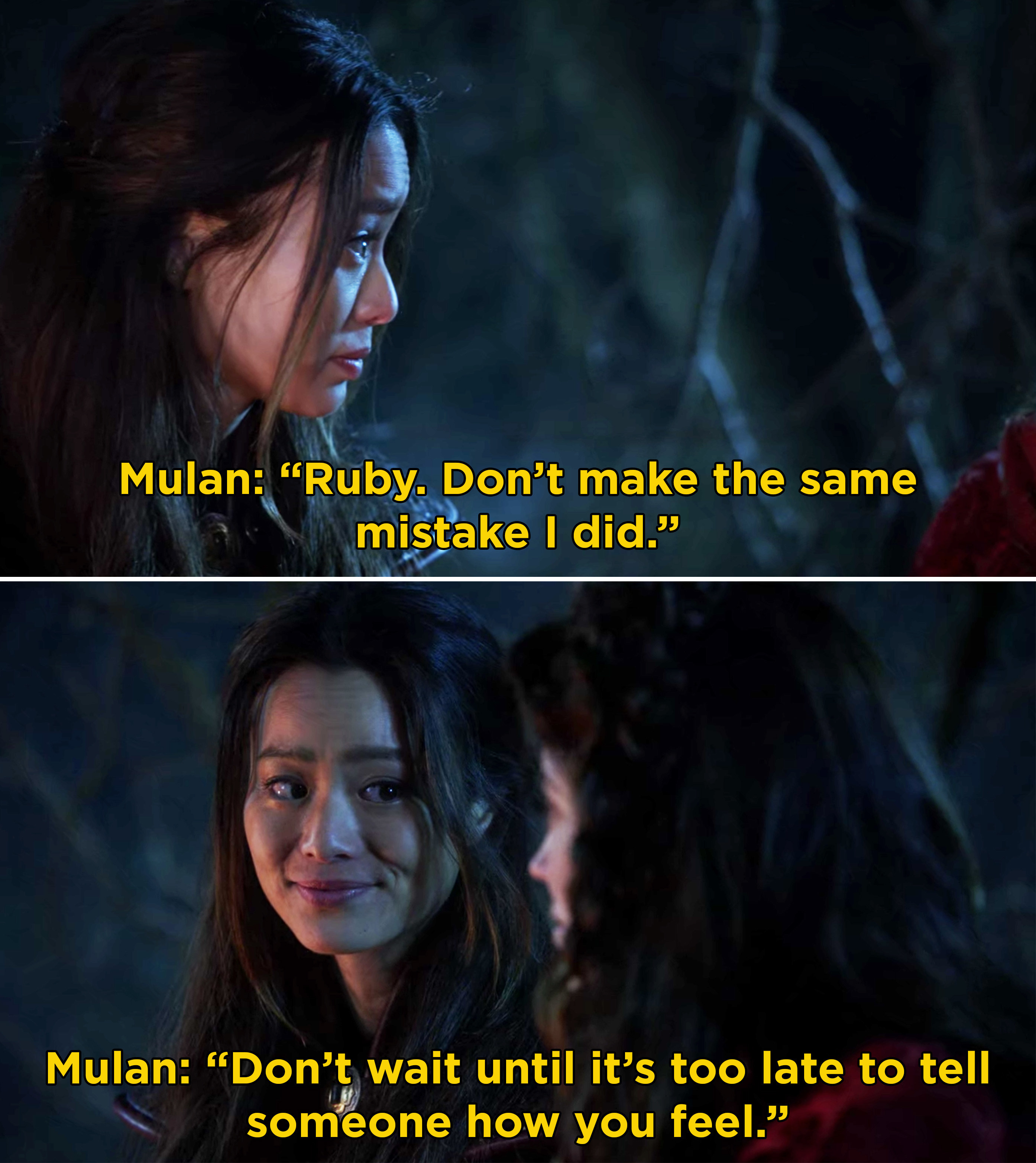 Mulan telling Ruby that she shouldn't wait to tell someone how she truly feels