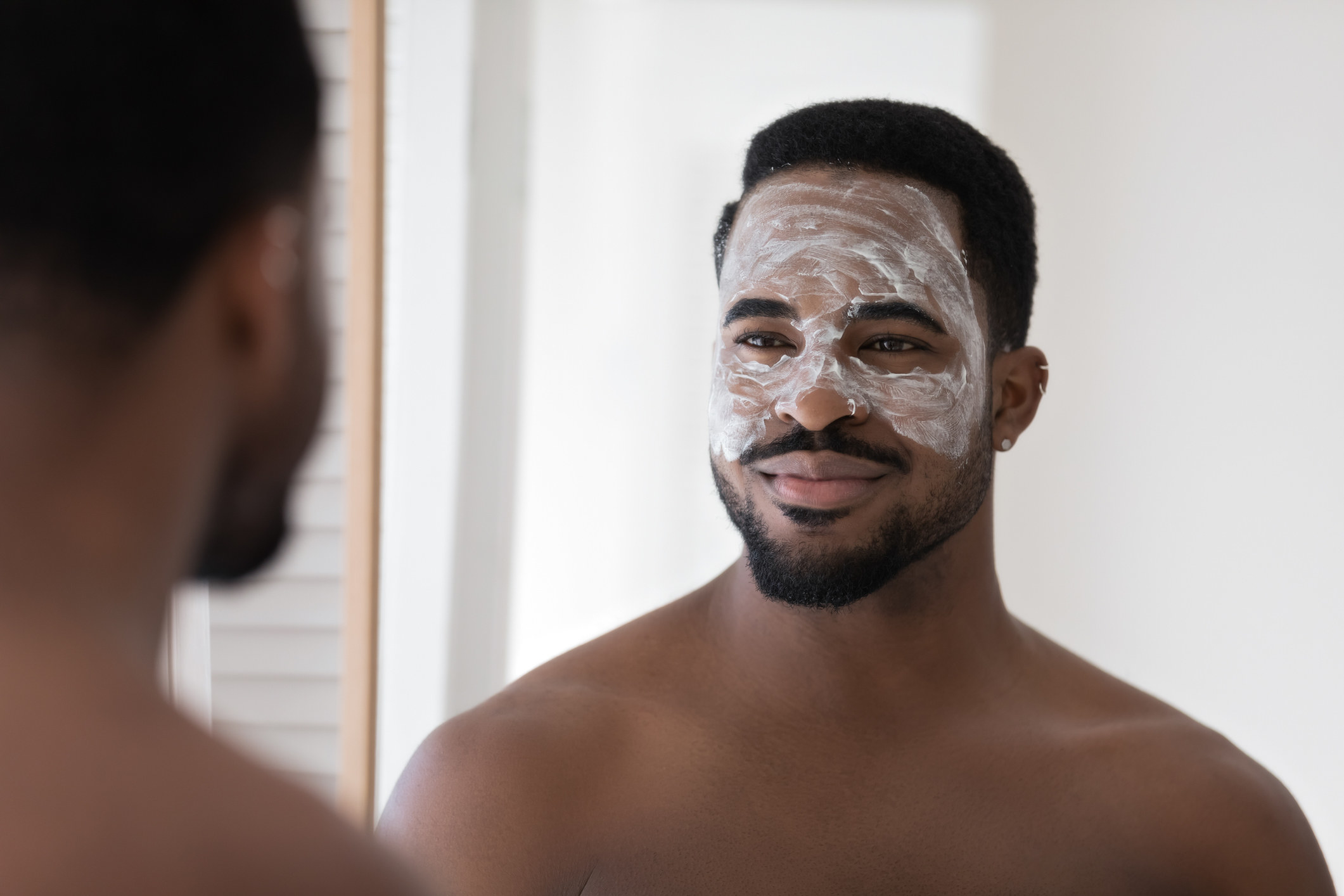 Man wearing a moisturizing mask