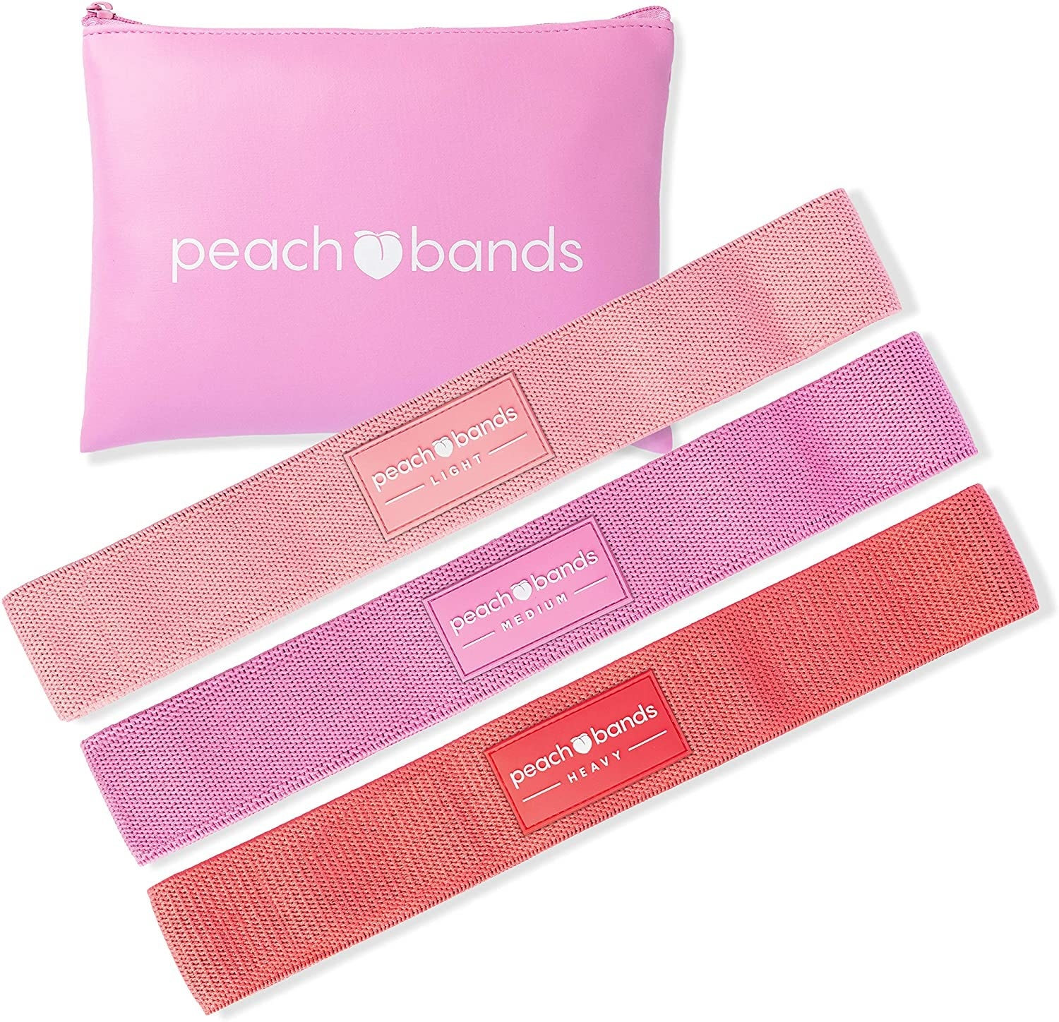 Three workout bands and a pouch
