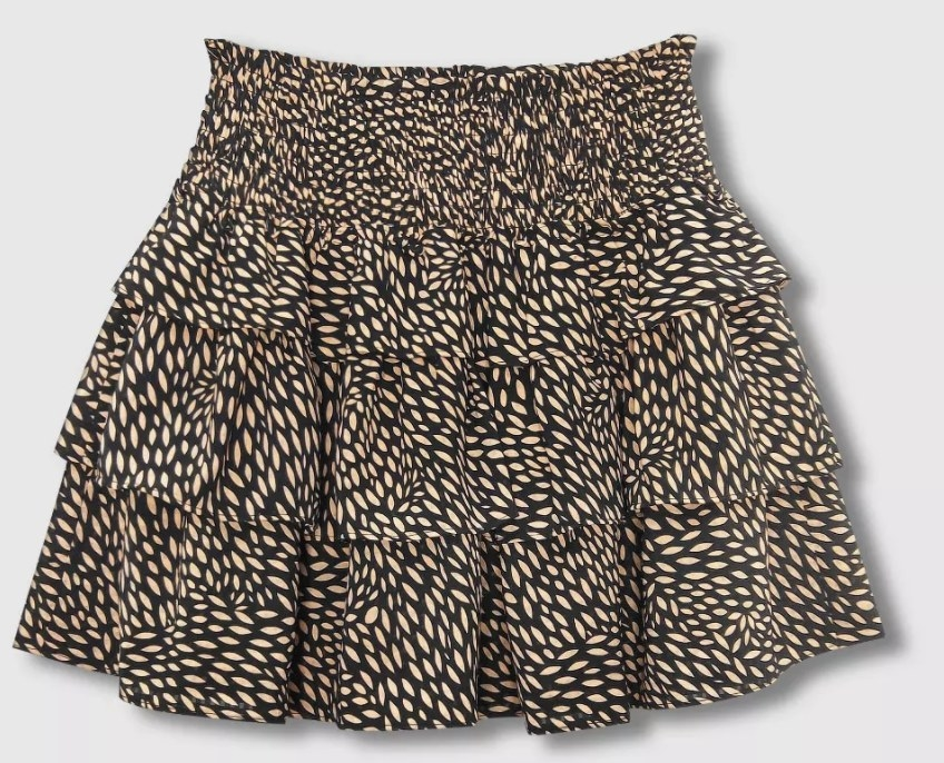 The brown patterned skirt