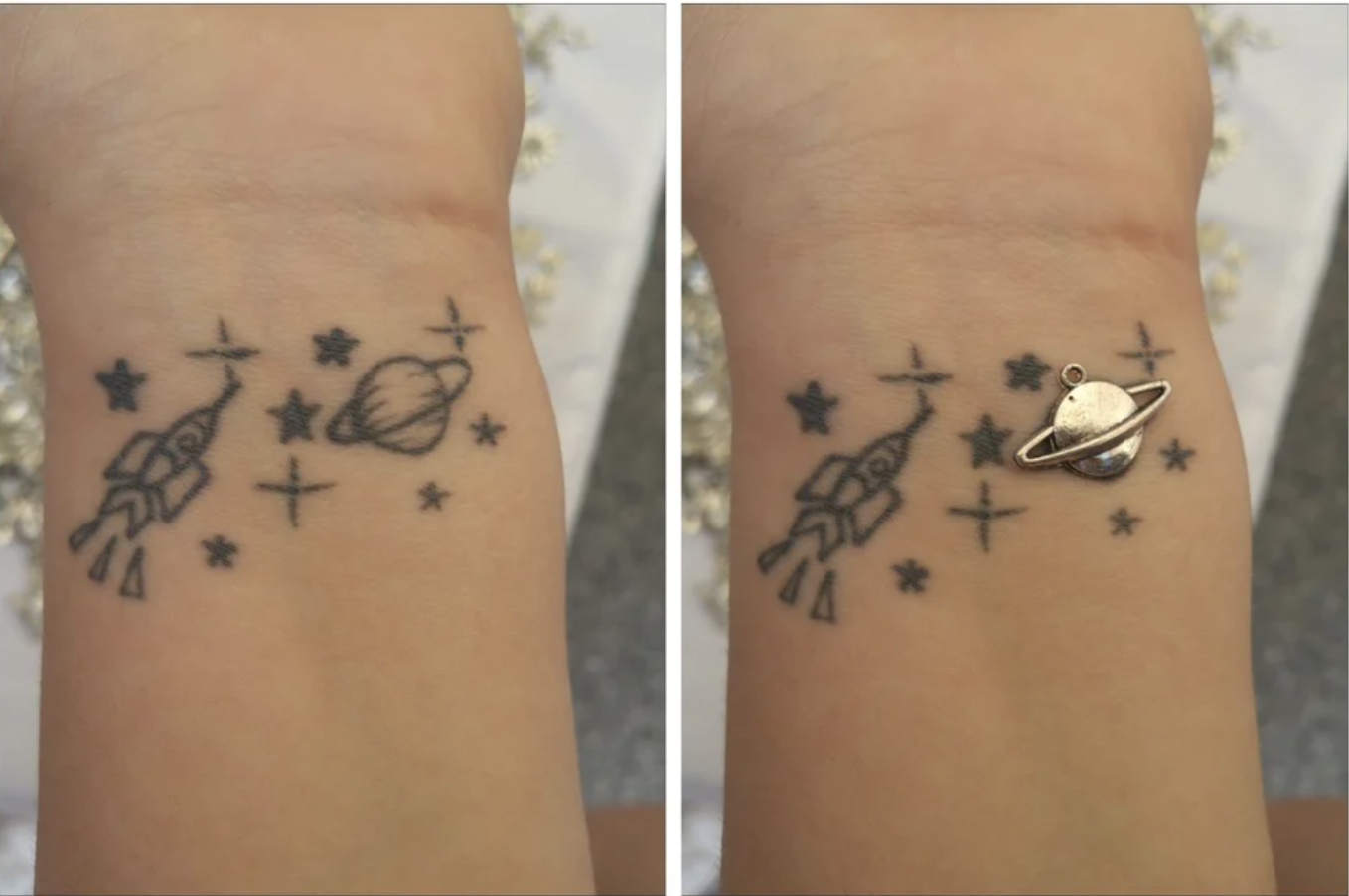 A planet charm matches a woman's planet tattoo