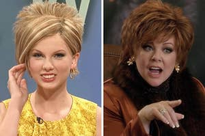 """On the left, Taylor Swift dresses as Kate Gosselin in an """"SNL"""" sketch, and on the right, Melissa McCarthy gestures outward with her hand as Michelle in """"The Boss"""""""