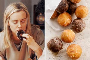"""On the left, Taylor Schilling closes her eyes and enjoys a chocolate donut as Piper on """"Orange is the New Black,"""" and on the right, a bag of donut holes is emptied onto a kitchen counter"""