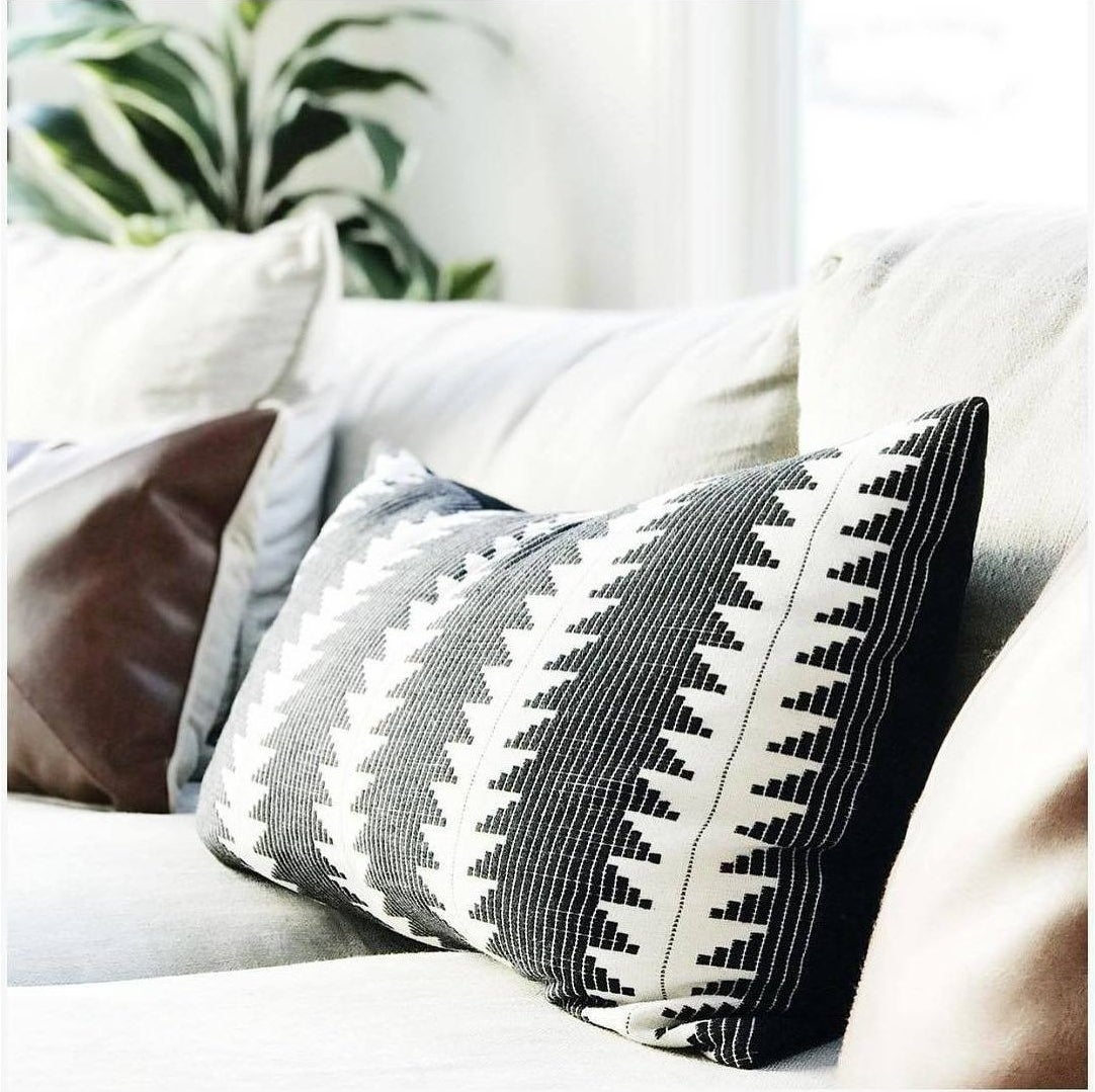 the pillow with black and white geometric print