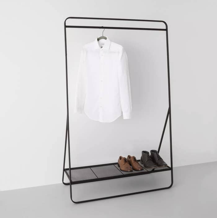 The metal garment rack in black