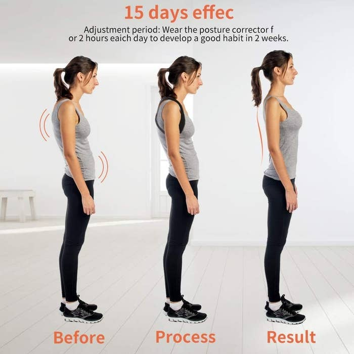 "A before, process, and result photo showing a model who starts with a drastically slouched stance and progresses toward an upright standing position with shoulders back. The image states this happens in a ""15 day effect."""