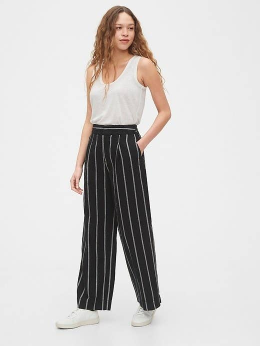 Stunning High Waisted Black Pants with Tie Up Waist in Sizes 6 to 14