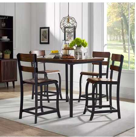 bar height rustic style dining table with four stools that have backs in a contemporary style dining room
