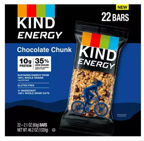 box of KIND energy bars in chocolate chunk flavor