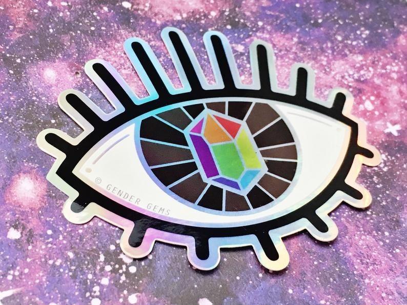 Gender Gems Pride Vision rainbow holographic sticker