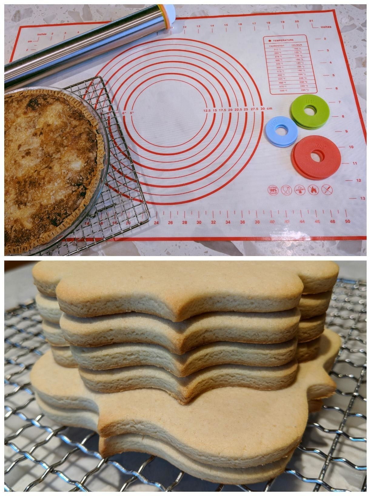 A review image of the mat, rolling pin and discs, a pie made using the mat, and cut-out cookies, all with perfectly even heights
