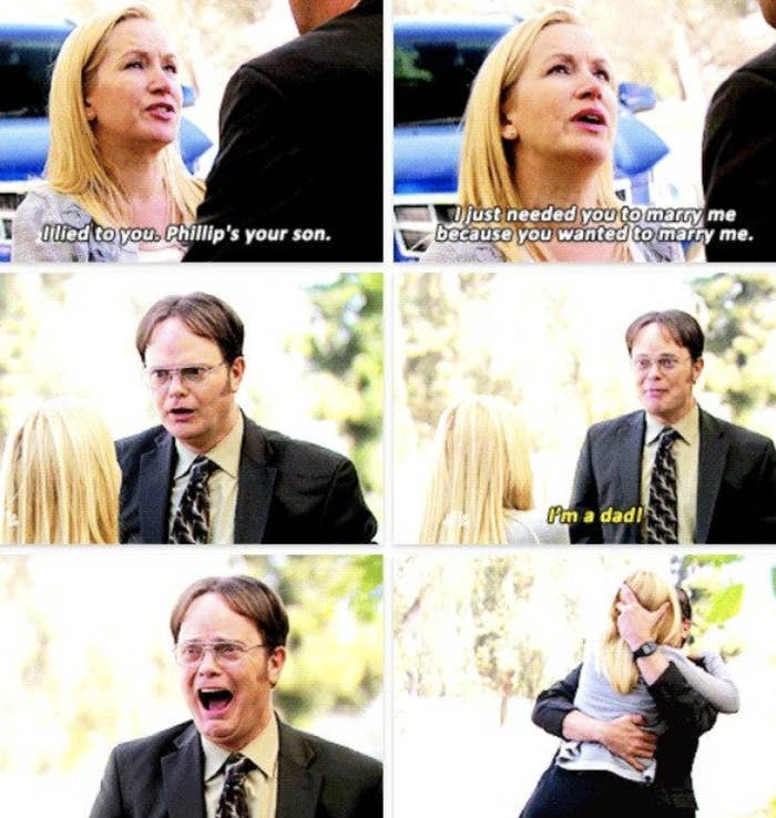 Angela telling Dwight he's the father
