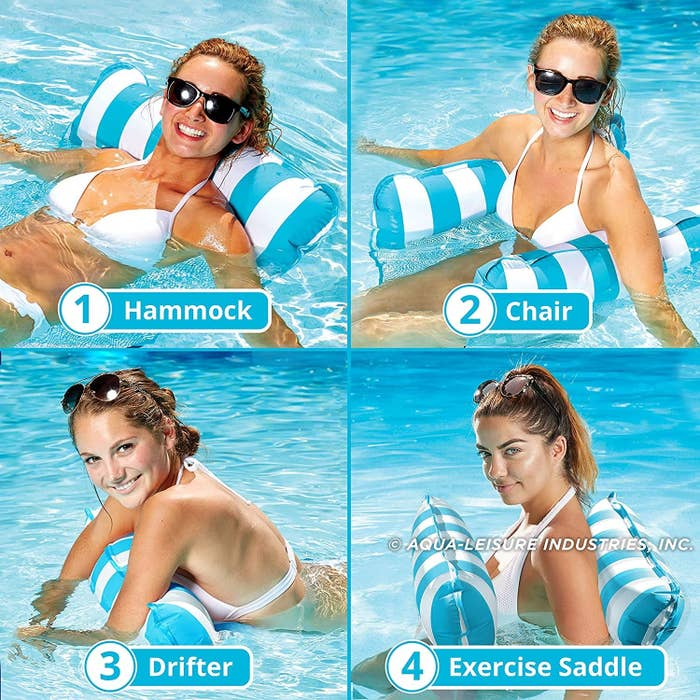 Photo showing the pool float's uses as a hammock, chair, drifter, and exercise saddle