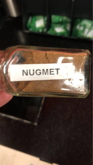 "Nutmeg container labeled ""nugmet"""