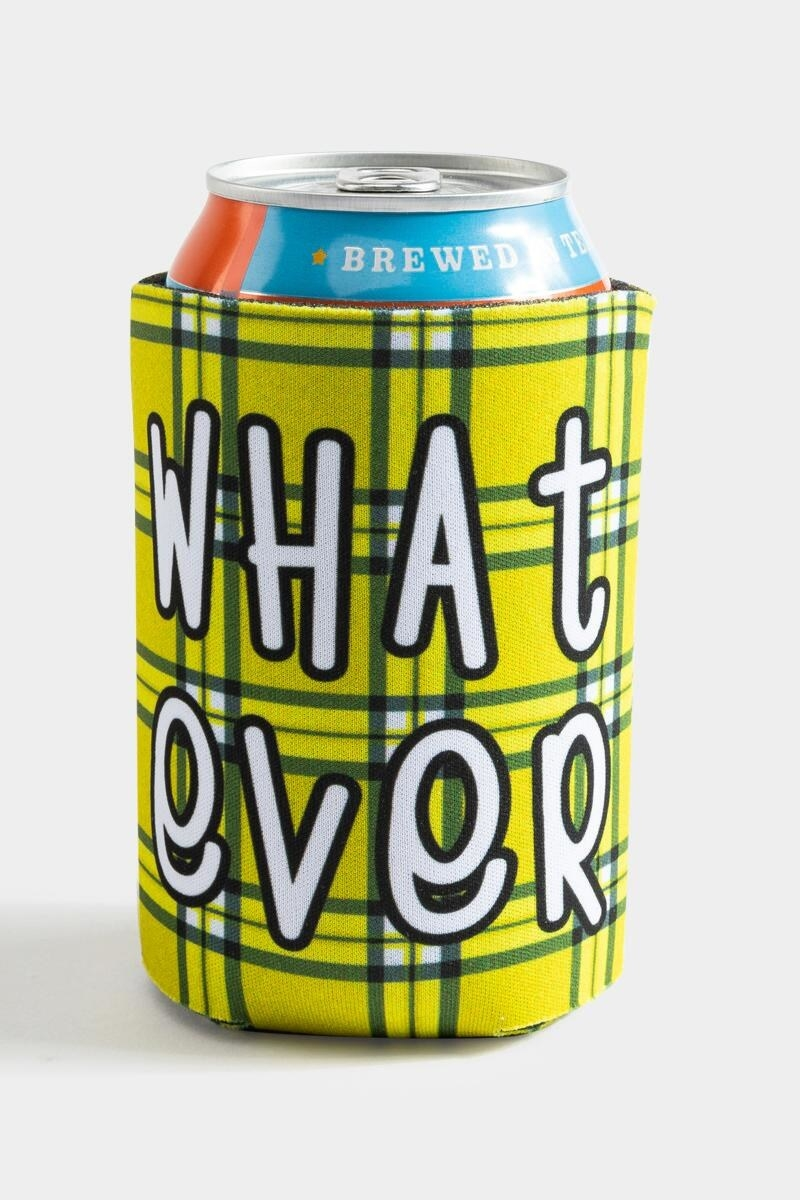 """yellow plaid drink coozie with """"Whatever"""" on it"""