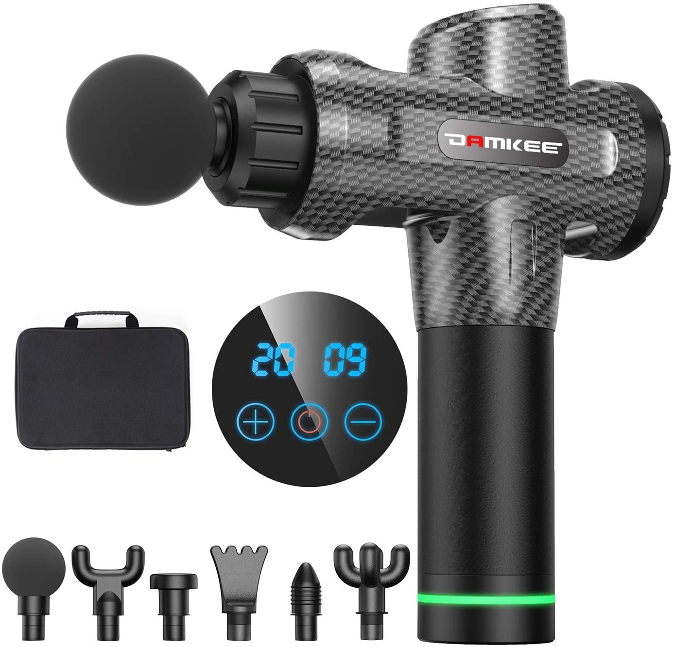 The Damkee Massage Gun with six various attachments