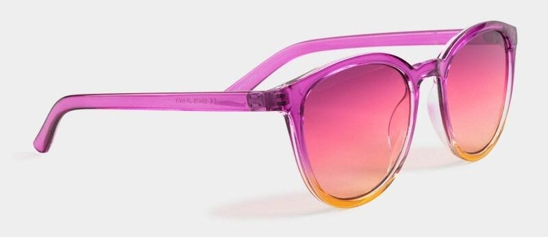 pink sunglasses with gradient tinted lenses and frames that go from pink to orange to yellow