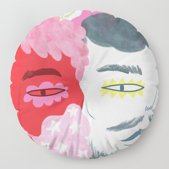 The floor pillow with an illustration of a face
