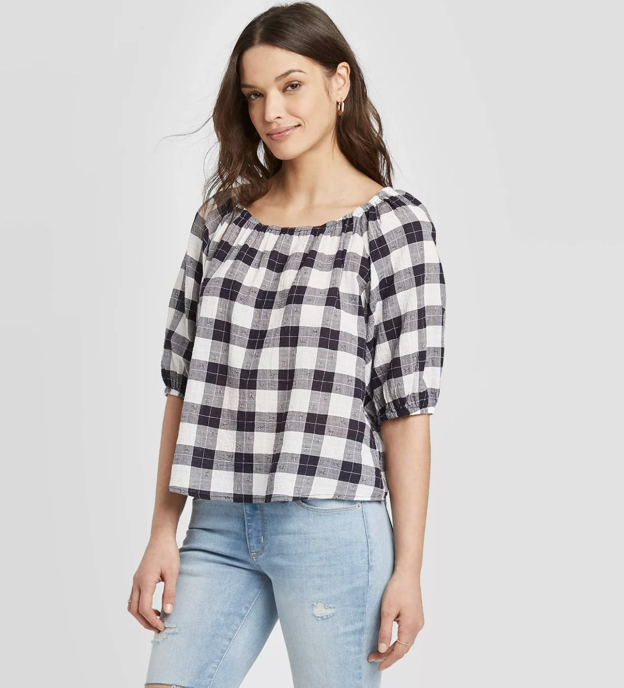 Model wearing the gingham top