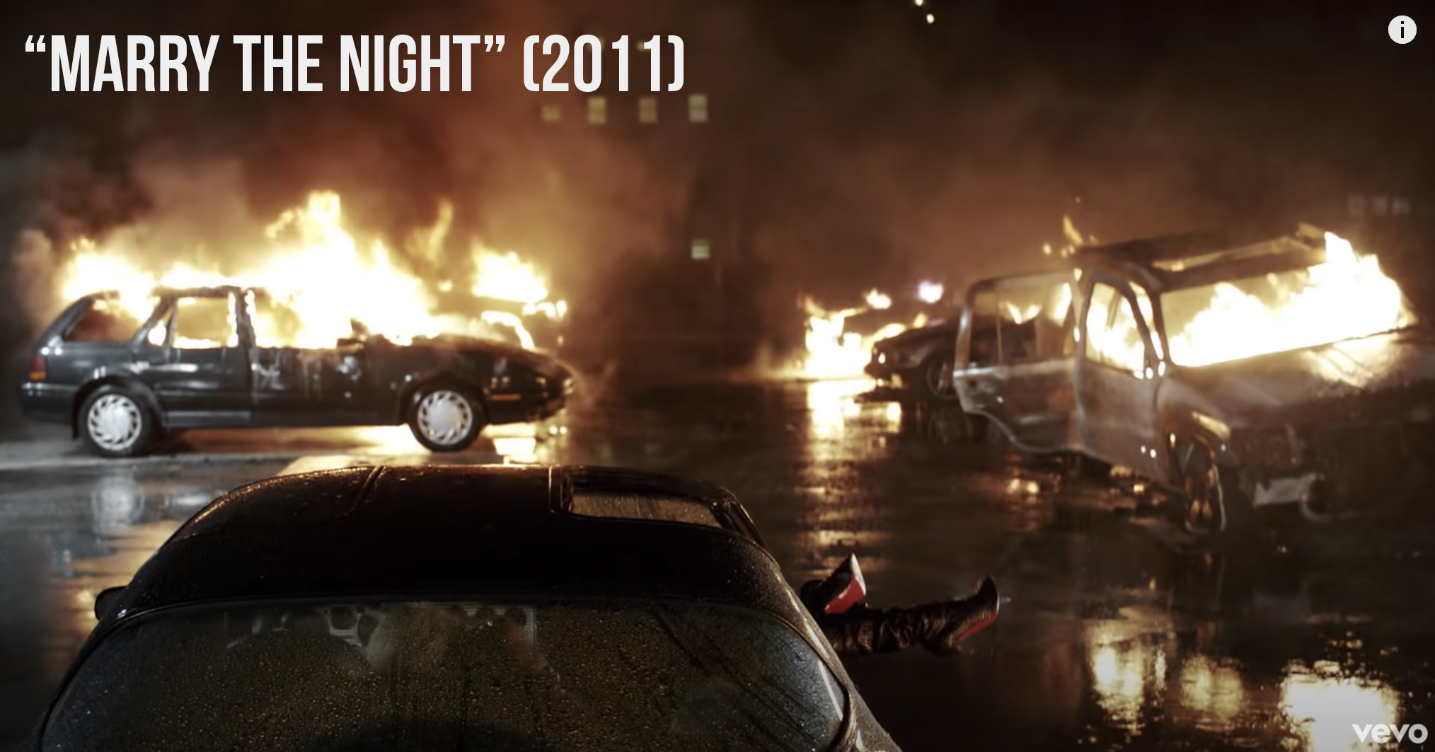 "Several cars blown up in ""Marry The Night"""