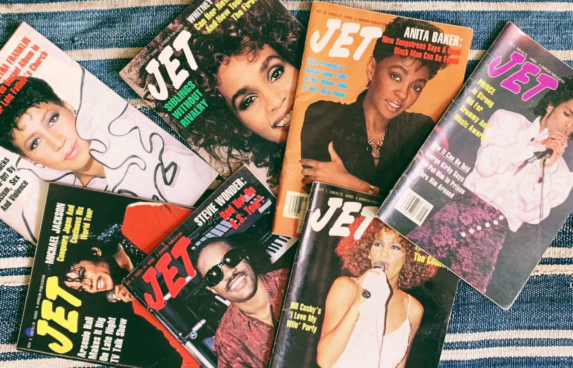 Seven different Jet magazine issues laid out