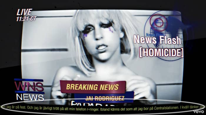 Lady Gaga's mugshots on a news broadcast