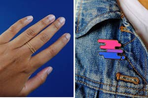 On the left, model wears love knot ring. On the right, a bisexual pride pin pinned to a jean jacket