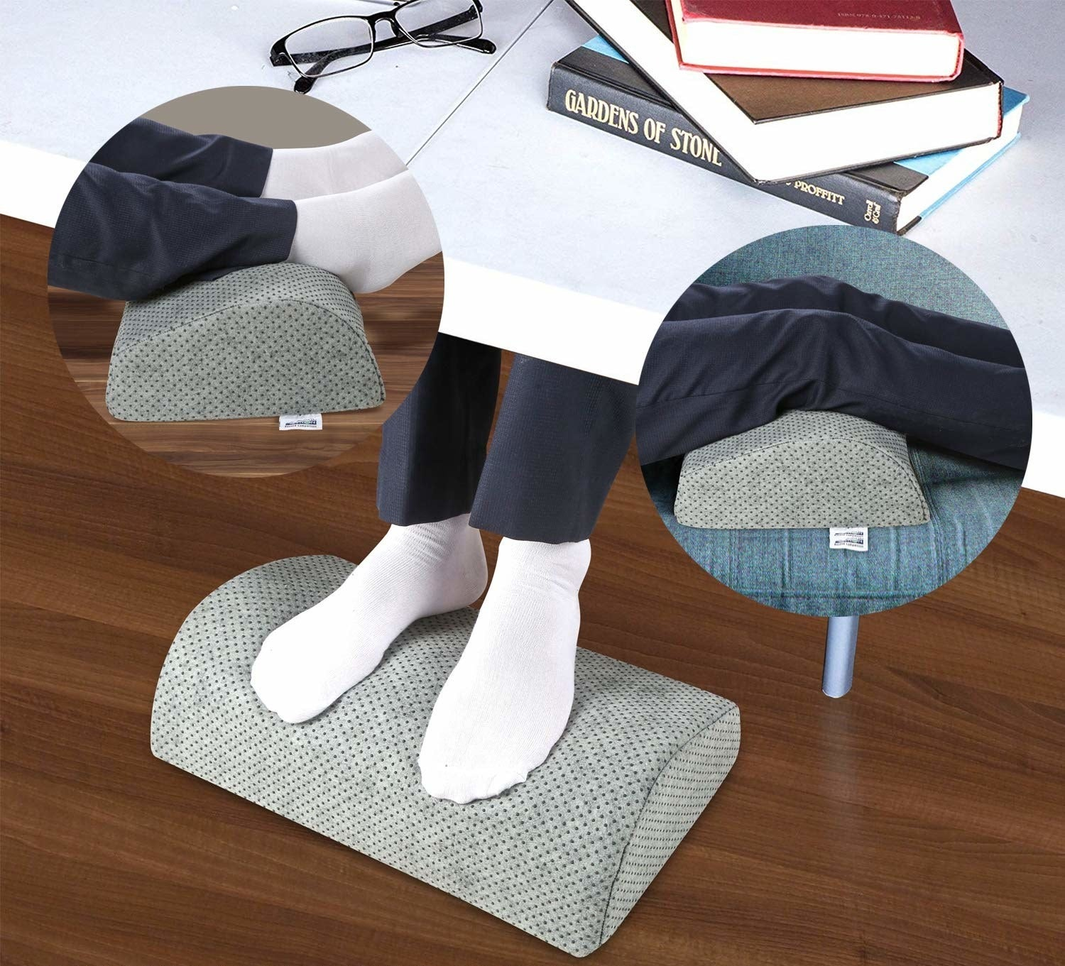A collage of a person using the footrest pillow under a desk while sitting and on a couch while laying down