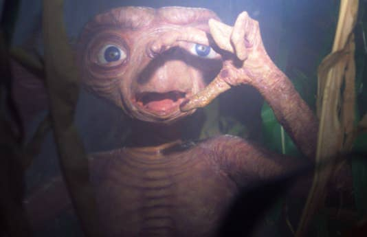 E.T. looking absolutely horrified by a bright flashlight.