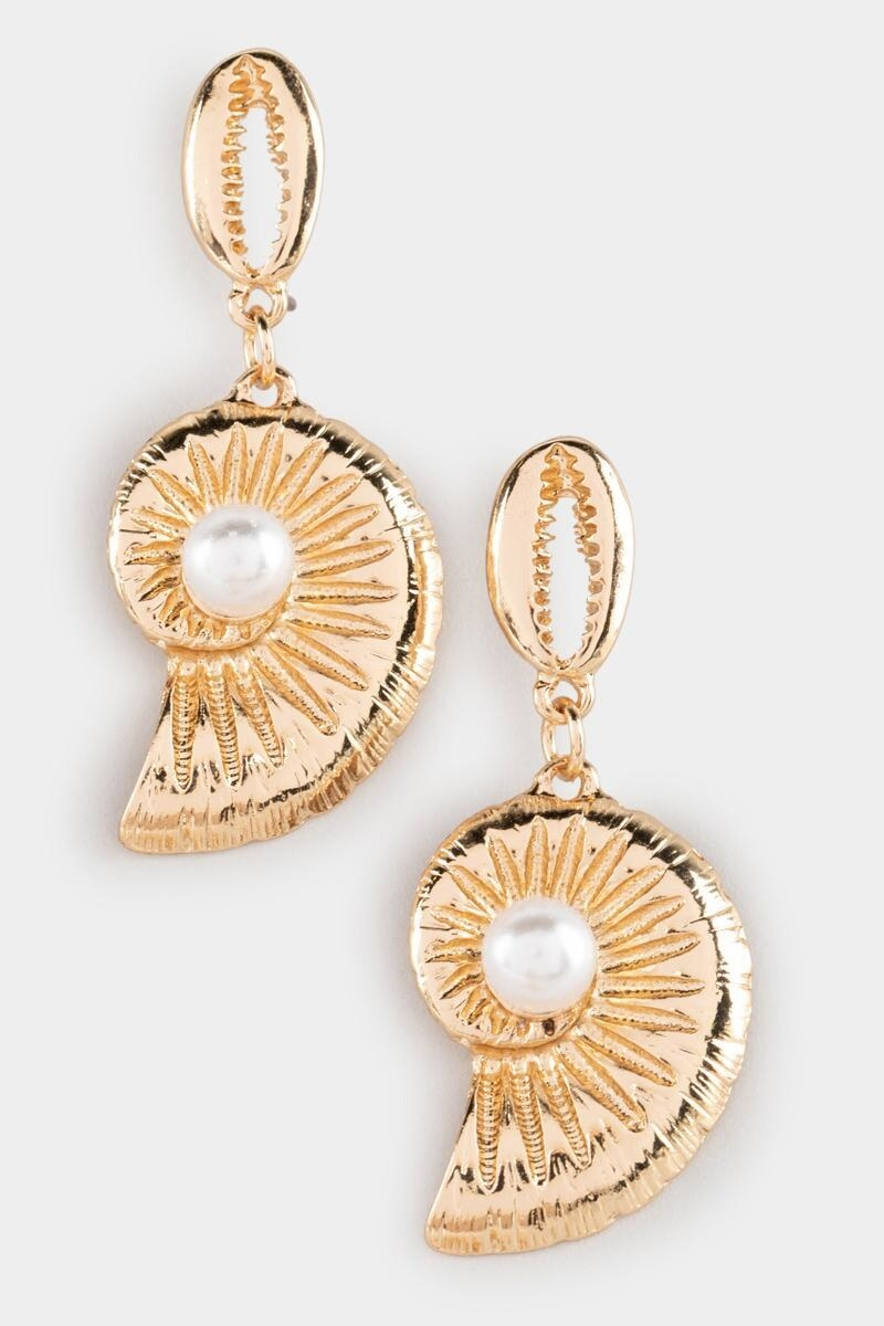 conch shell-shaped gold tone earrings with a pearl in the middle and cowrie shell style drops